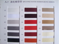 "spun polyester herringbone ribbon,cotton ribbon , 3/8"" 1cm width , 50 colors , moq is 2000yards for 1color"