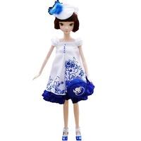 Free Shipping New Beauty Chinese Blue & White Porcelain Girl Vinyl Toys Girls' Dolls For Children Gifts On Sale Kids' Dolls