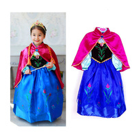 Retail Frozen Style New 2014 Anna Costume Princess Dress Girls 2 pcs Dresses+red cloak For 2-8 Years Baby Kids Fashion clothing