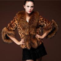 2014 Fashion Women Winter fur coat half sleeve Faux Fur Fox Fur jacket Covered Button Leopard Print Chic Double pocket fur coats