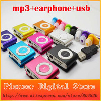Hot Sale 1pcs/lot New Mini Clip Metal MP3 Music Media Sport Player With Micro TF/SD Card Slot Support 1 - 8GB + Earphone + USB