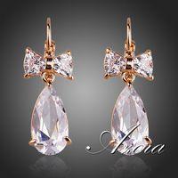 18K Rose Gold Plated Clear Bowknot Swiss Cubic Zirconia Tear Drop Earrings FREE SHIPPING! (Azora TE0155)