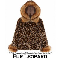 Casual Leopard Faux Fur Hood Short Fur Coat Women Autumn Winter 2014