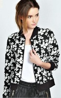 2014 new Autumn retro flower print coat big brand zipper jackets Fashion Casual style suit free shipping