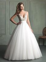 Custom Size A-Line wedding dress V-neck White Ivory bridal Dress gown