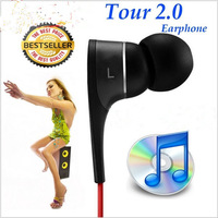 Best Quality New tour 2.0 Tour In-Ear Earphones with microphone and earphone with retail sealed box, free shipping