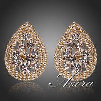 Teardrop Design 18K Gold Plated Tiny Clear CZ Around Stellux Austrian Crystal Stud Earrings FREE SHIPPING!(Azora TE0130)