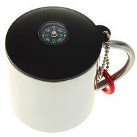 Mini Stainless Steel Camping Mug w/ Carabina Compass Double Layer Coffee Cup