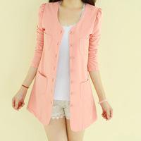 New 2014 Fashion Women Jacket Slim O-Neck Long Sleeve Long Blazer Autumn Casual Jacket Women Candy colors Leisure Suits Coat