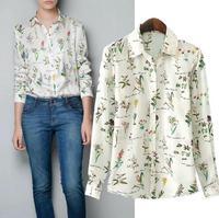 New floral print metal button long-sleeved big yards snow spins unlined upper garment European women shirt