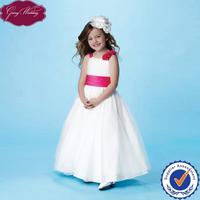 Goingwedding Sleeveless A-line Lovely Princess Organza Skirt Floor Length Red White Flower Girl Dresses HT020
