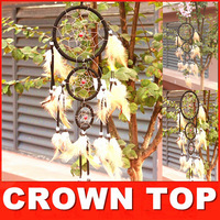 HOT!!! Three circle beautiful dream catcher  10piece/lot ,5 colours mixed ,10pcs in opp bag ,Free shipping,Diameter:11cm-7cm-5cm