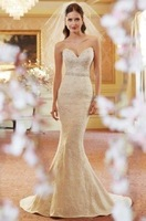 custom size Mermaid wedding dress New Hot sale Simple White/Ivory lace Bridal Gown 2-4-6-8-10-12-14-16+++