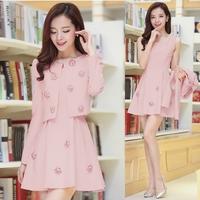 2014 women twinset dress coat and one-piece dress Pink three-dimensional hand work flower dress