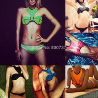 Free Shipping New 2014 Hot Sale Sexy Womens Neoprene Bikini Set Halterneck Swimsuit Waterproof Swimwear Bathingsuit SML T161