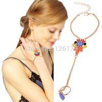 Fashion Crystal Multi Color Rhinestone Bead Slave Bracelet Ring Chain Hand Bracelet Bangle for Women