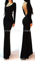 2014 Autumn EBay for the European and American evening dress fashion sexy big Halter slim elegant long sleeve dress