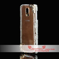 Punk Metal Skull Crystal Pearl Frame Bumper Transparent Case For Samsung Galaxy S5 Note 2 Note 3 S4 S4 Mini N9000 i9600 I9082