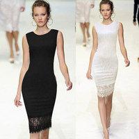 2014 Autumn Spot star with OL full lace dress evening dress Midi Bodycon Dress