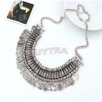 HE 2014 Retro Elegant Fashion Jewelry for Women Silver Bronze Multilayer Round Coins Pendant Necklaces Women 14in EH