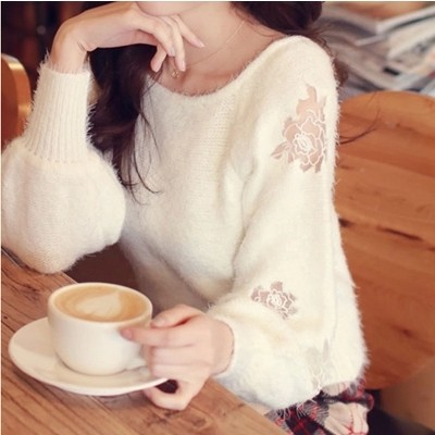 New 2015 Autumn and winter women sweater and pullovers batwing sleeve roses Hollow sweater Mohair knitted sweater cardigan(China (Mainland))