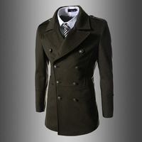 New winter Men's fashion contracted Pure color double-breasted trench coat
