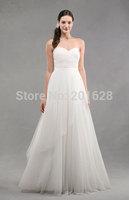 2014 New arrival pleat sleeveless sweetheart floor length pleat tulle white/ivory hot selling fashionable fancy wedding dress