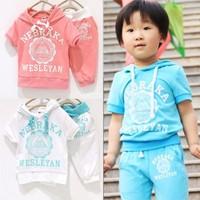 Children's clothing child summer set 2014 letter male female child short-sleeve sweatshirt t-shirt capris twinset