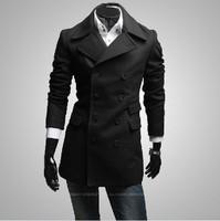 New winter asymmetric three double-breasted woollen coat dust coat pocket design