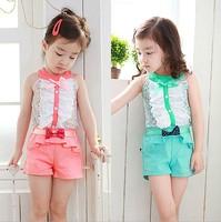 NEW Free Shipping Children sets female Girls flower sleeveless T-shirt and shorts 2014 summer girls clothes
