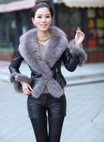 2014 Fashion Big Fur Collar Jacket Women Slim Outerwear Pu Leather Jacket Coat Winter Warm Fur Coat plus size