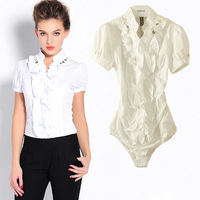 Fashion Ruffles short sleeve OL office lady Occupation body shirt blouse Free shipping wholesale cheap bodysuits shirt vciv31