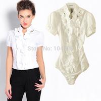 Fashion Ruffles short sleeve OL office lady Occupation body shirt blouse Free shipping wholesale cheap bodysuits shirt vciv31