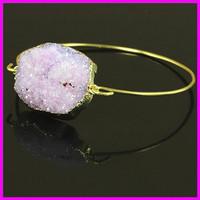 Wholesale 5PCS Crystal Purple Amethyst Druzy Gem Stone Bangle,Freeform Quartz Cuff Bangle,Delicate Modern Jewelry Bracelet