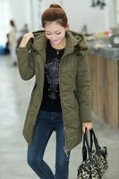 2013 winter 113 thickening wadded jacket slim outerwear female medium-long fur collar hat