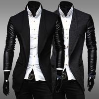 Stitching men leisure paragraph dust coat grows in fashion design