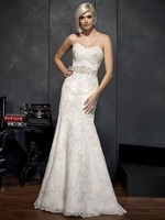 Custom Size Mermaid Wedding Dress New Free shipping Fashion Sweetheart Lace Applique Mermaid White/Ivory Bridal Gown