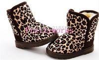 Free Shipping Fashion children's leopard short snow boots kids baby boy girl flat winter boots children's warm shoes D-1756