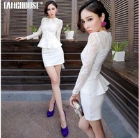 2014 Autumn female long-sleeved lace dress temperament Slim thin wrapped hip  white and black lace OL work dresses