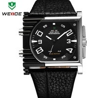 Men sports watches WEIDE brand watch genuine leather straps watches big dial 30m waterproof wristwatch