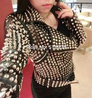 New in 2014 autumn winter women sexy fashion studded rivets jacket streetwear punk rock roll outerwear faux lambskin PU jackets