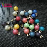 2014  women's pearl stud earrings fashion elegant brand faux pearl bead square glass crystal statement earstuds perle bijoux
