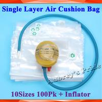 100Pcs 10Sizes Single Layer Air Cushion Packaging Wrap Bubble Bag +Pedal Inflator Kit