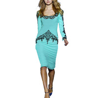 CD1361 Women's Fashion Printing Pencil Dress European Pattern Slash Neck Full Sleeve Slim Hip Elegant Knee Length Dresses