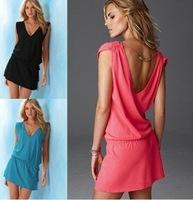 2014 Womens Fashion Sexy Lady Short Swimwear Open Back Bikini Cover Up Summer Beach Dress Shirt Wear #Y88357 Free shipping