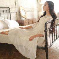 FreeShipping Fashion Women Clothes 2015 Spring Sweet Ladies Dresses Three Quarter Sleeve Chiffon Fairy Dress Ankle-Length W23199