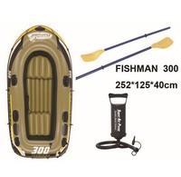 JILONG Brand Fishman 300set ,3Person fishing boat ,252x125x40cm ,inflatable boat ,1 par oars ,1 hand pump with repair patch