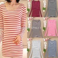 [No.24]Autumn long-sleeve t shirt for women European style stripe female t-shirt Classical slim cotton basic shirt for women