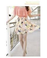 2014 New Dress Summer Ladies Chiffon Dress Women's Short Sleeve Flower Cute Dress Pink XL #25001 Free shipping