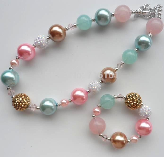 Ювелирный набор Chunky necklace set 2set/& child beads necklace set